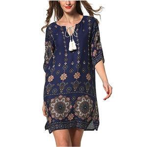 ROYAL BLUE Dress Tunic Tie Dye Print size XXL NEW